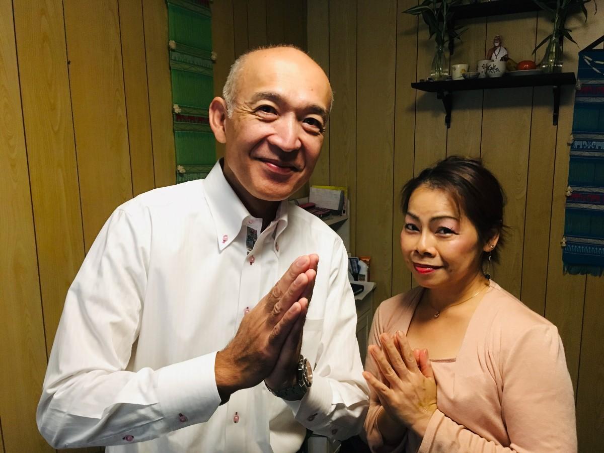 リナ・インターナショナル社長の佐藤昌吾さんとオーナーセラピストのリナさん