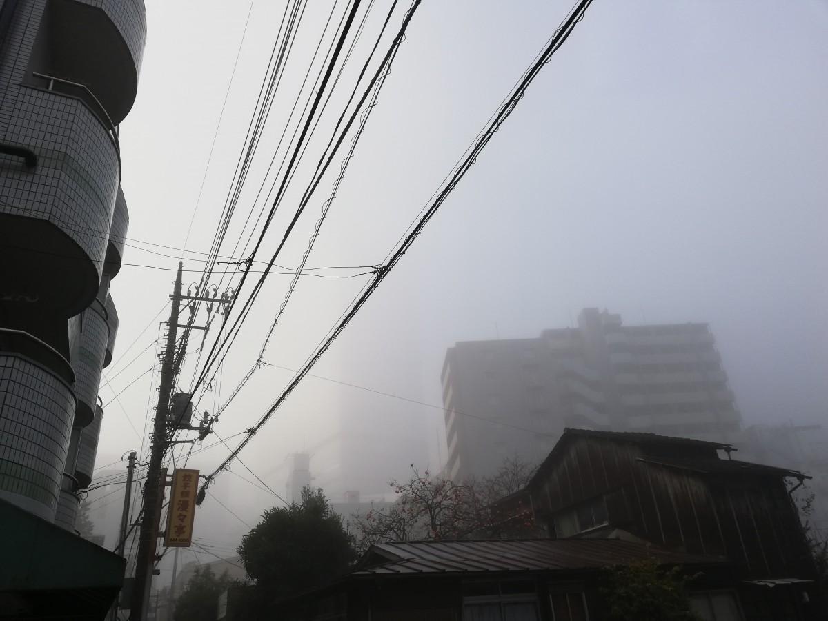 午前8時ごろに撮影。「大宮ソニックシティ」ビルは霧に包まれて見えない