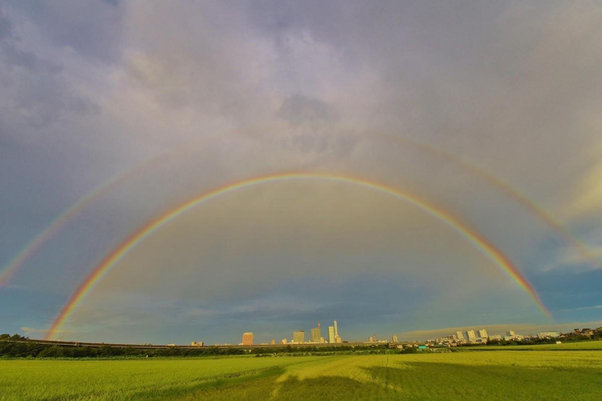 8月19日早朝、さいたま市上空に架かった2重の虹(写真提供=新部滿さん)