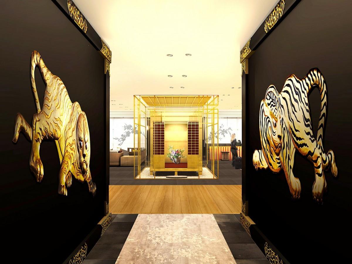 豊臣秀吉の黄金の茶室を設置したロビーのイメージ