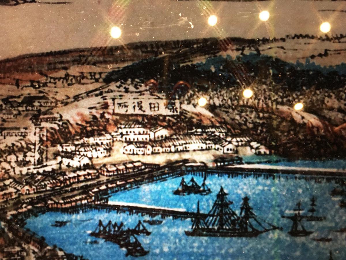 古地図で確認できる煤田(ばいでん)山のふもとにある「煤田役所」
