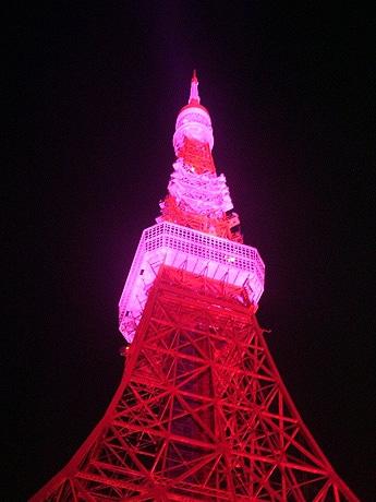 東京タワーをピンク色にライトアップ(昨年の様子)