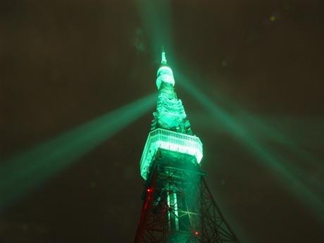 東京タワーは3月17日、アイルランドと日本の外交関係樹立50周年を記念してタワーを緑色にライトアップする。写真はライトアップのイメージ。