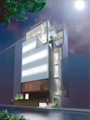 麻布十番に「和」をテーマにしたコンセプトビルの建設プロジェクトが進行中。雑誌「LEON」元編集長の岸田一郎さんがプロデュース、建築家の岸和郎さんが設計を担当する。写真はビル外観イメージ。