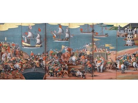 写真=重要文化財 レパント戦闘図・世界地図屏風(戦闘図) 香雪美術館蔵