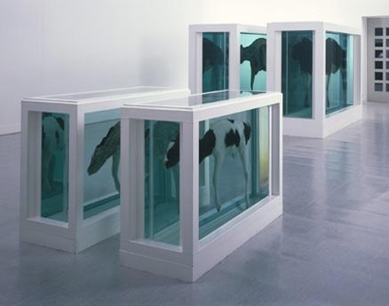 写真=デミアン・ハースト「母と子、分断されて」1993年 208.6×332.5×109センチメートル(×2)、113.6×169×62センチメートル(×2)スチール、ガラス強化 プラスチック、ガラス、シリコン、牛、子牛、ホルムアルデヒド溶液 アスト ルップ・ファーンリ近代美術館、オスロ蔵
