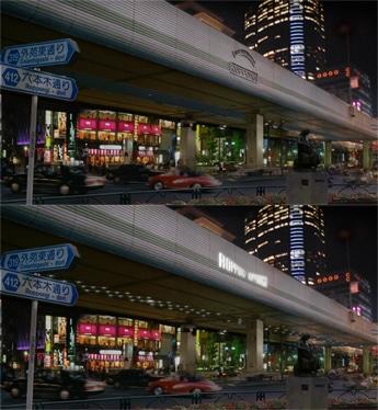 写真=新「六本木」ロゴが輝くリニューアル後の六本木交差点イメージ(下図)。上図は現状の六本木交差点。
