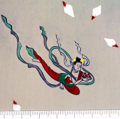 「仏後壁・天人部分 復元模写」(写真提供:平等院)