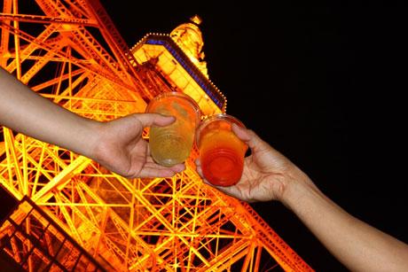 東京タワーとハイボールの2ショット