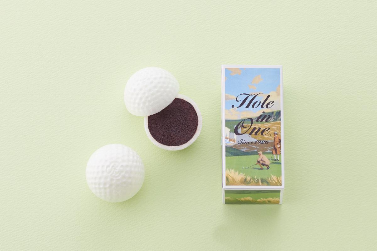 「ゴルフ最中(もなか)ホールインワン」は箱に2個のもなかが入っている