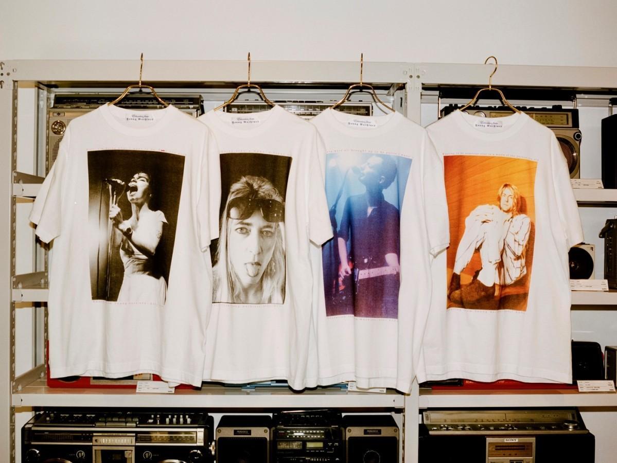 ロックミュージシャンのポートレートを使ったオリジナルTシャツを扱う同店