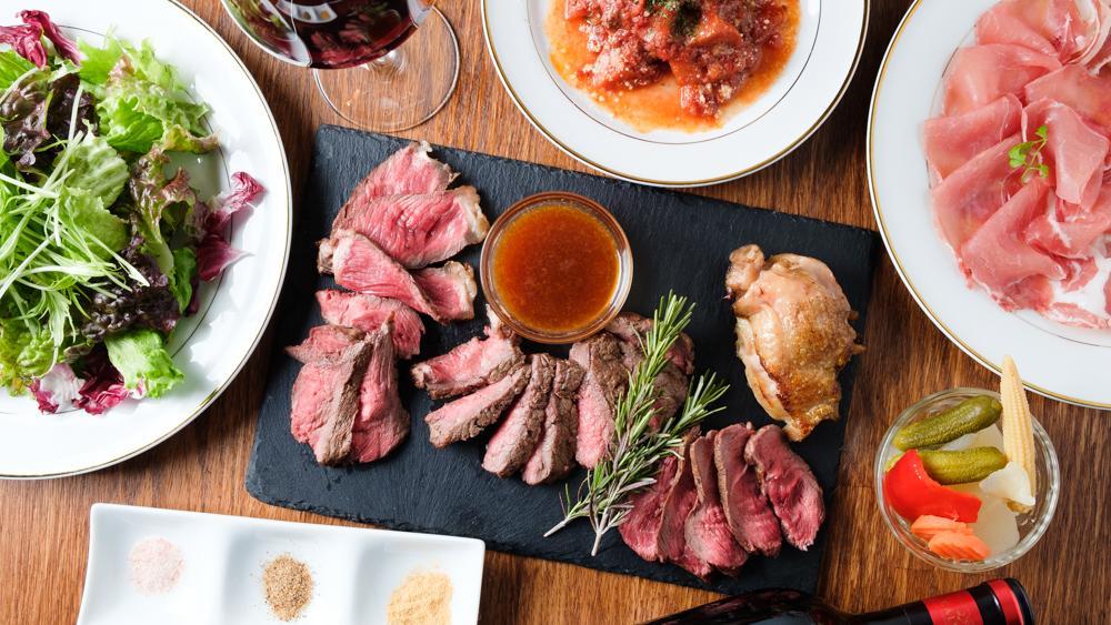 厚切りローストビーフ食べ放題含む全10品の「肉レイニーコース」