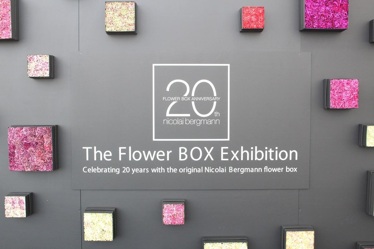 5メートル四方の黒いフラワーボックスを飾る同展