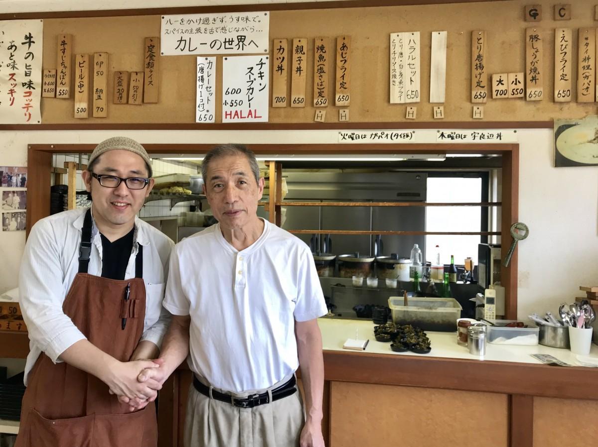 現店主の浦部義男さん(右)と、新店主の實岡庄平さん(左)