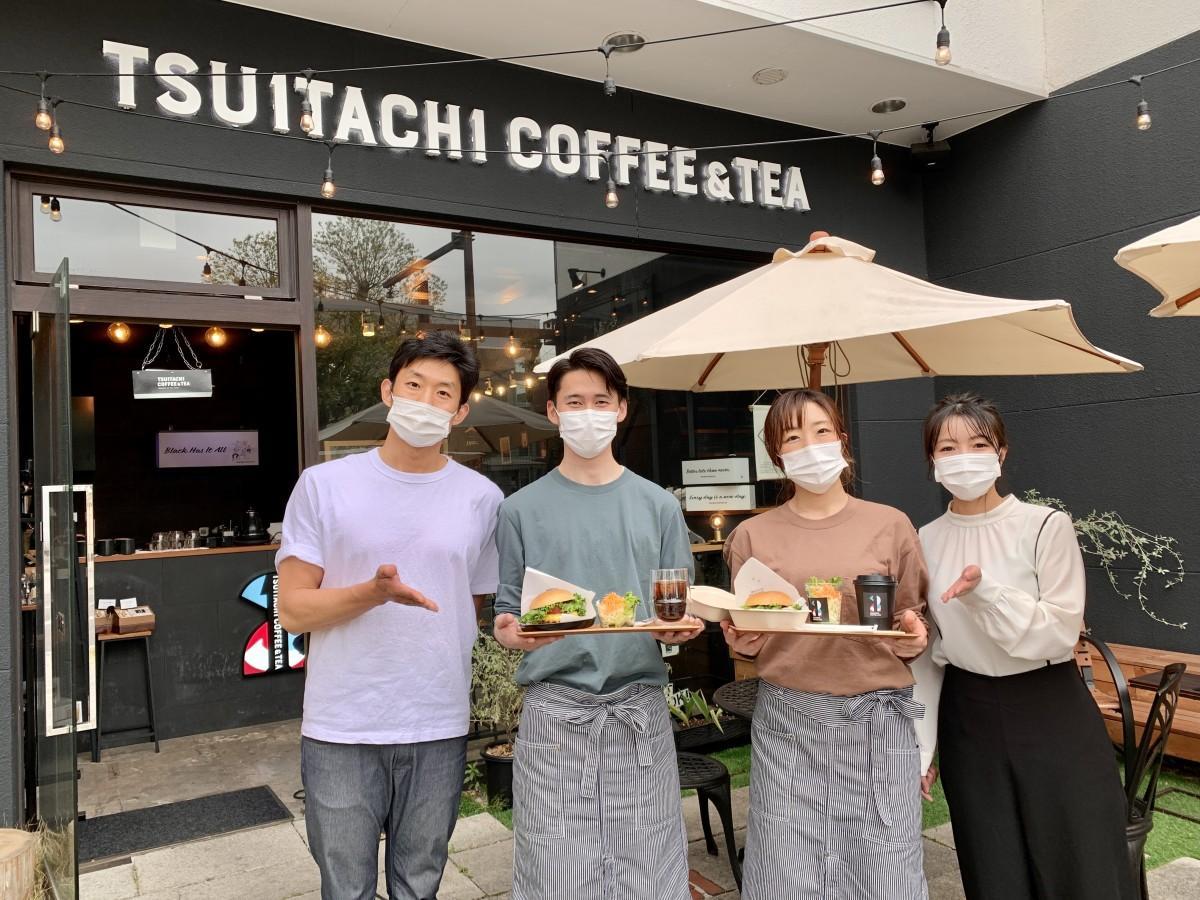 「TSUITACHI COFFEE & TEA」店主の船津脩平さん(左)と店長の小宮由佳理さん(右)とスタッフ