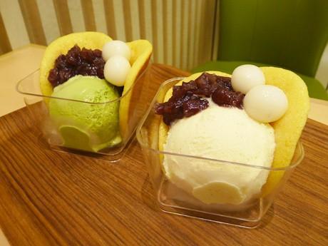 夏の新商品「アイスどらっぽ」はバニラ(右)と抹茶(左)の2種類