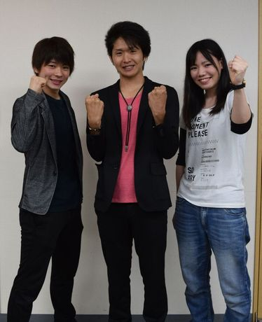 忍者隊メンバー候補に選ばれた(左から)山内涼平さん、浅井良信さん、中川彩さん