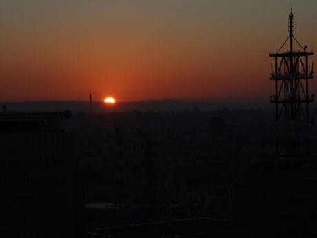名古屋テレビ塔展望台から見た2016年の日の出