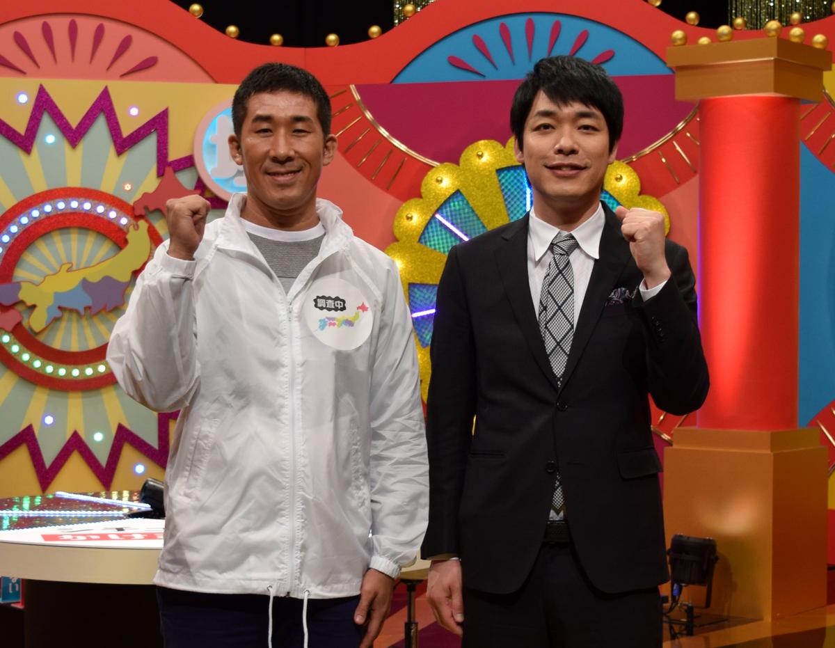 NHK名古屋で会見を行った麒麟の川島明さん(右)と田村裕さん