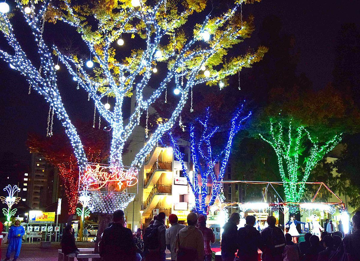 池田公園で開催されるイルミネーションイベント。写真は昨年の様子