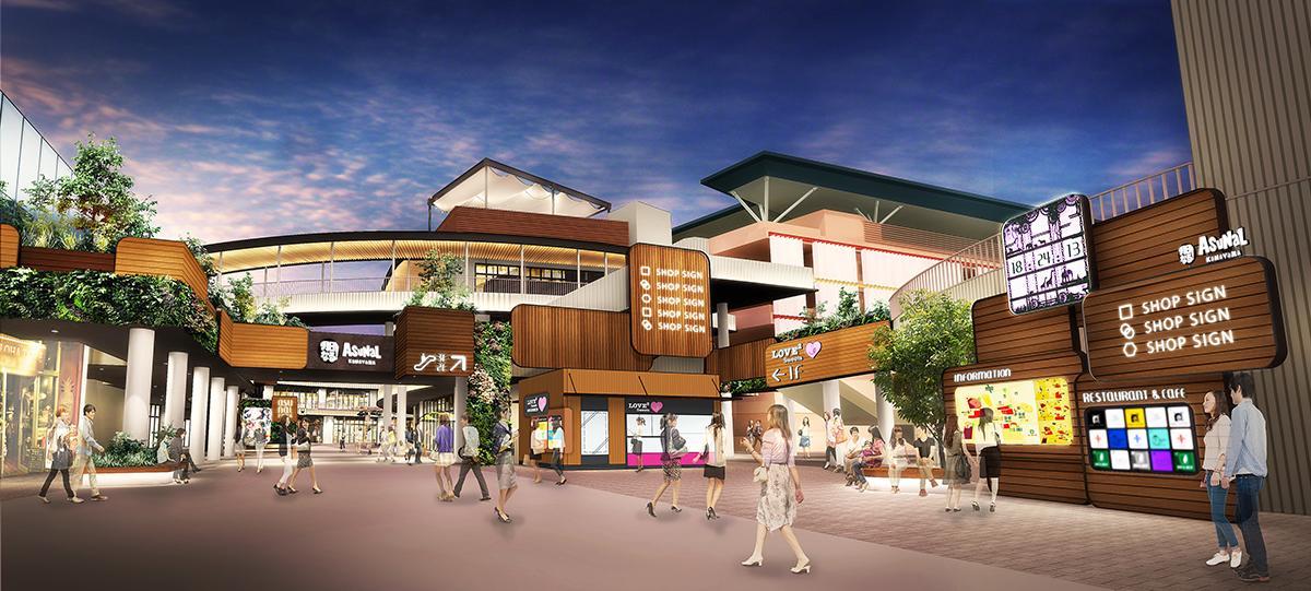 白色と木目を基調にしたデザインに変更する「アスナル金山」1階エントランス広場の完成イメージ