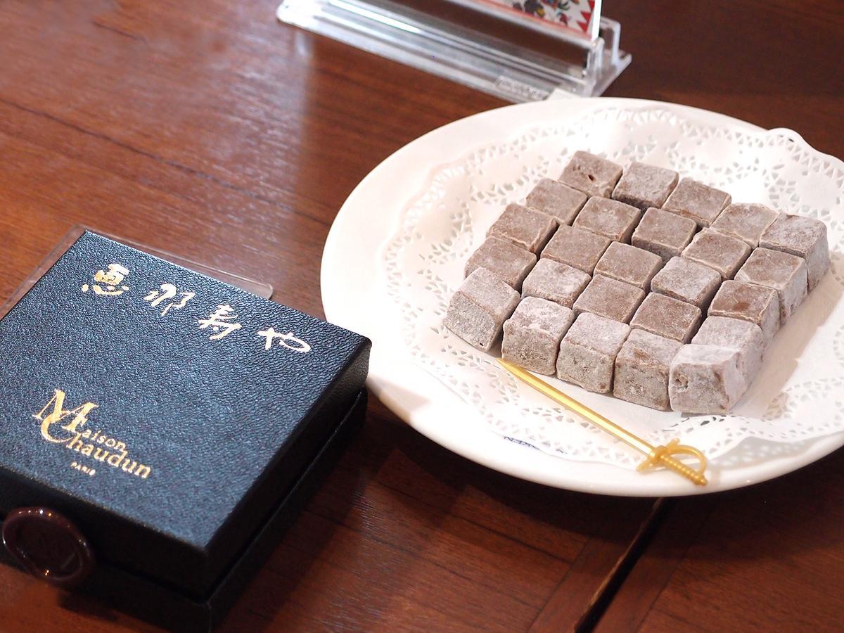 「恵那寿や」栗きんとんペーストを合わせた生チョコをフランス「メゾン ショーダン」の商品