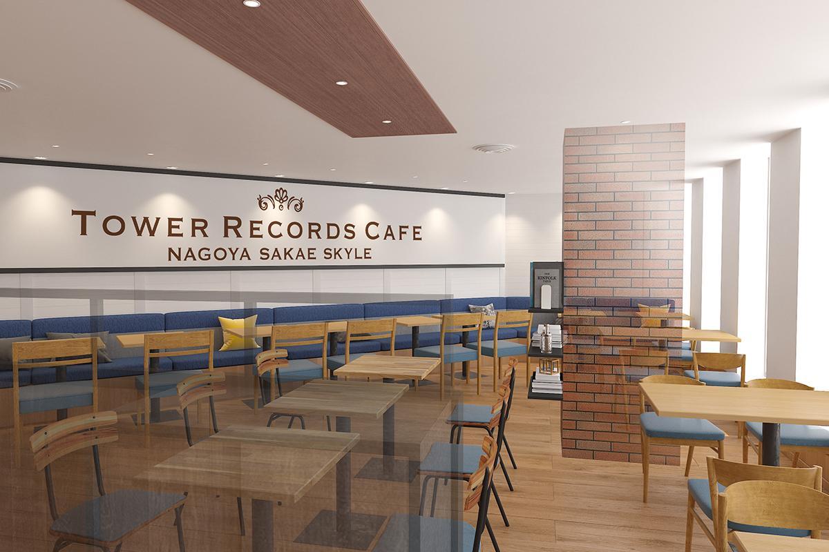 2月1日にオープンする「TOWER RECORDS CAFE 名古屋栄スカイル店」店内の完成イメージパース