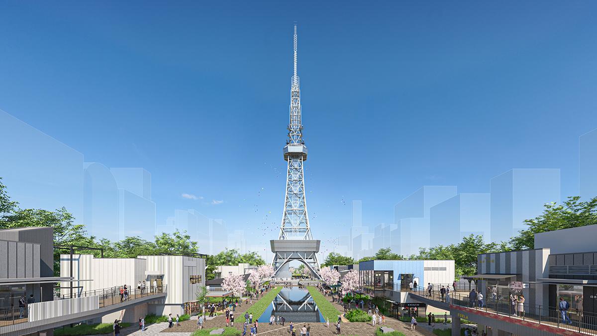 名古屋テレビ塔を望み久屋大通公園と店舗が一体になった「Hisaya-odori Park(ヒサヤオオドオリパーク)」イメージ(画像提供=三井不動産)