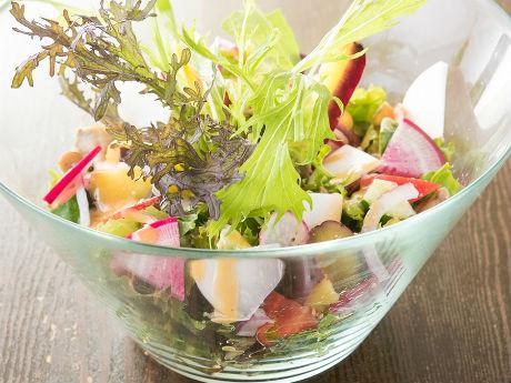 約20種類の野菜を使った「たっぷり季節野菜のサラダ」