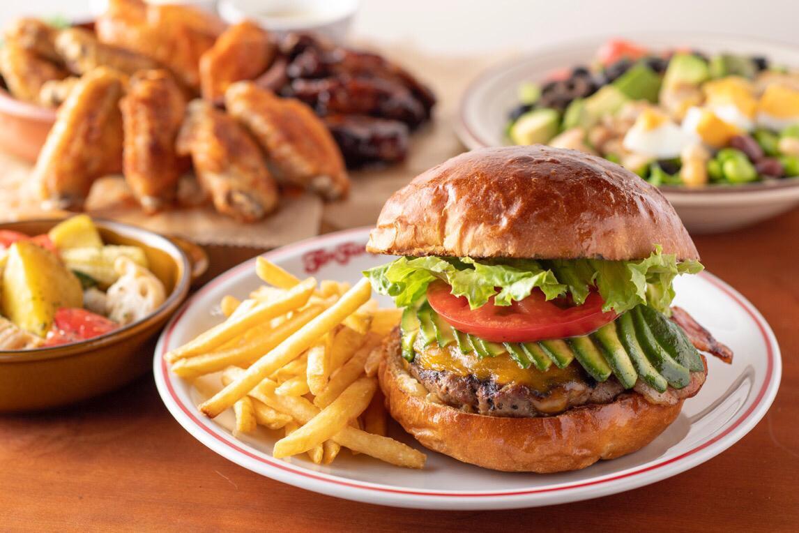 ハンバーガーの大きさを「持つ指の数」で表し、3サイズを展開する