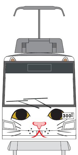 """""""猫感""""が増したという「幸福の招き猫電車」前面(イメージ)"""