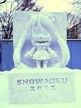 新たに制作された「初音ミク」雪像