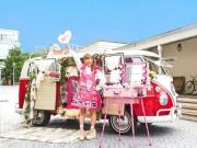 札幌パルコ前にメーク・バス 世界を旅したアーティストがメークパフォーマンス