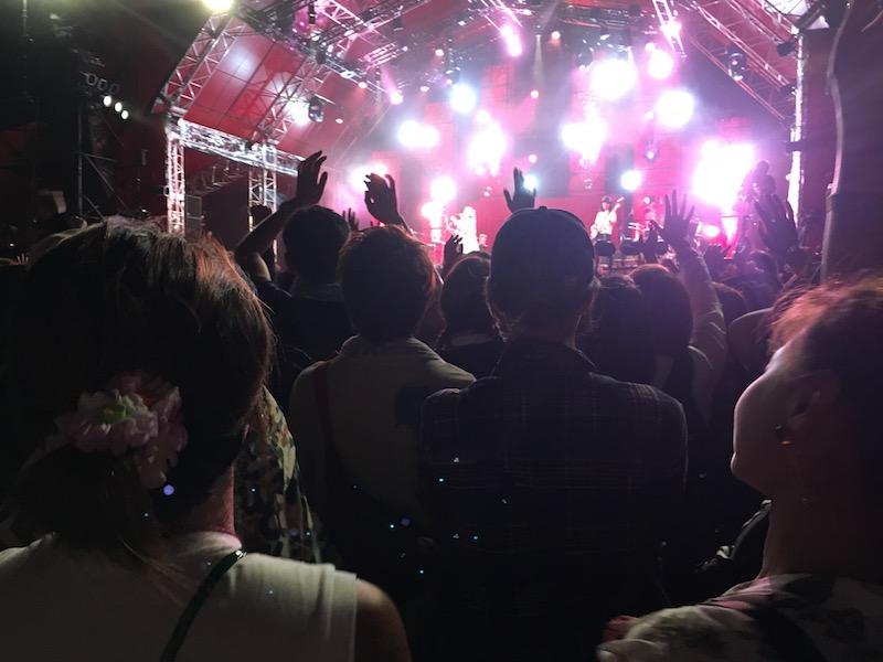 夜のステージで盛り上がる観客たち