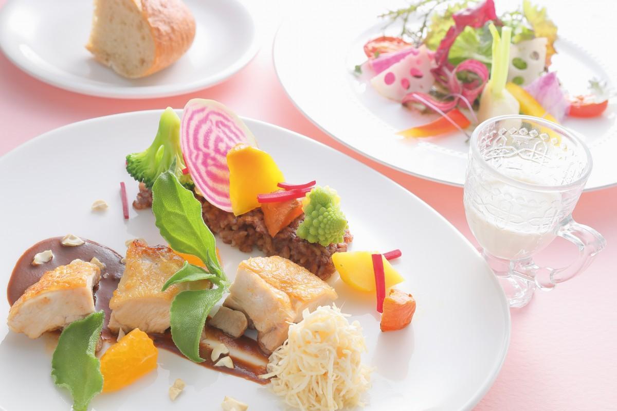 オーガニックレストラン デュランデル「ピュアココアのライスガレットと伊達めぐみ鶏の軽い煮込み 彩り野菜添え」(1,458円)