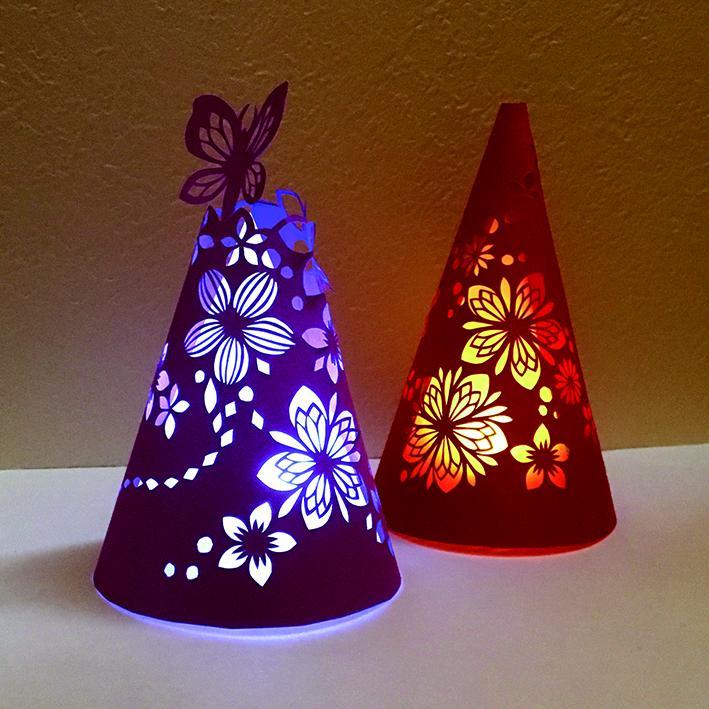 好きな色や模様を組み合わせて作る切り絵のランプシェード作り