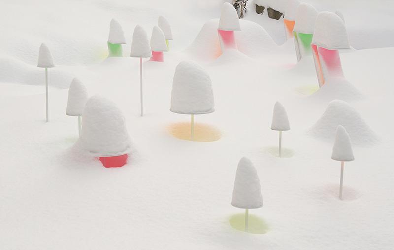 雪国ならではの鮮やかな色彩アート