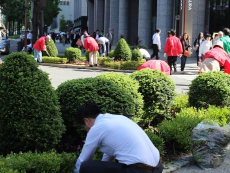御堂筋にボランティア約200人が集まって一斉に清掃している様子