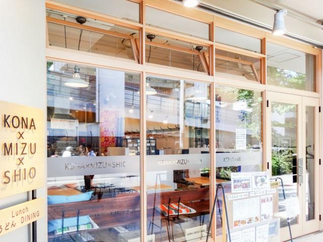店主の白川さん自らがデザイン画を描いたという、「KONA×MIZU×SHIO」の店舗外観