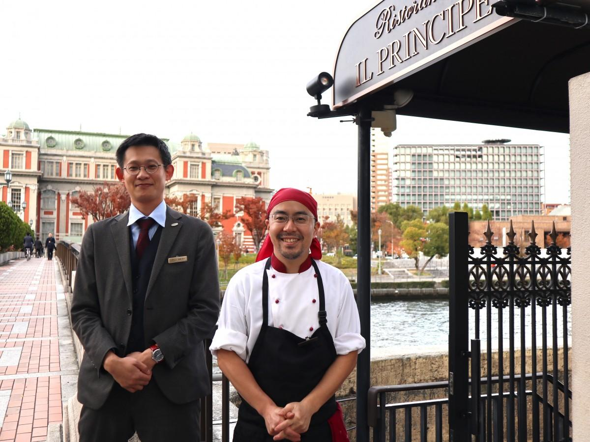 シェフの仲川さん(左)とサービススタッフの恩地さん