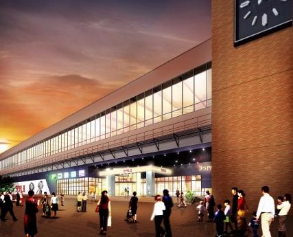 2008年初夏に開業予定の「エスパルII」(仮称)外観イメージ。倉庫などとして利用していた新幹線高架下の2階部分を利用する