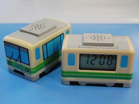 手のひらサイズの「地下鉄目覚まし時計」。設定した時間になると仙台市地下鉄の「駅メロ」とアナウンスが流れる