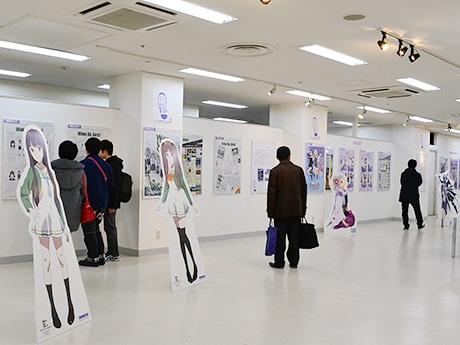 「聖地巡礼展 in 仙台」会場の様子。仙台・宮城を舞台にした作品が並ぶ