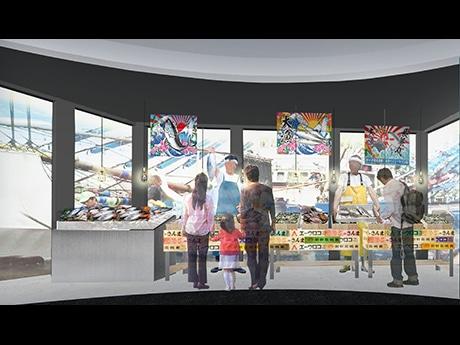 活気ある市場と水揚げ風景を展示に取り込む「三陸の海」コーナーのイメージ