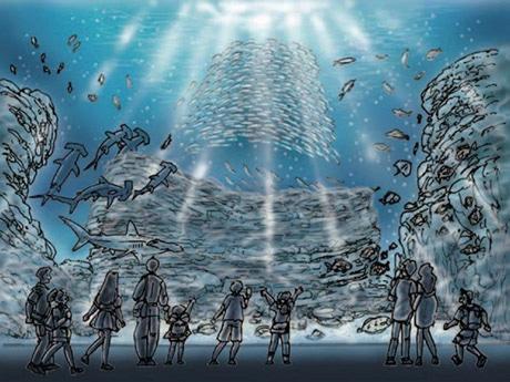 50種2万5000匹の生物が泳ぐ巨大水槽「いのちきらめく うみ」イメージイラスト