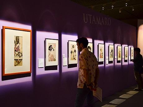 喜多川歌麿の美人画。時代や作者ごとに整理して展示されている