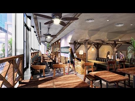 「アロハテーブル」仙台パルコ2店内イメージ。開放的なテラスを設けリゾート空間を演出する