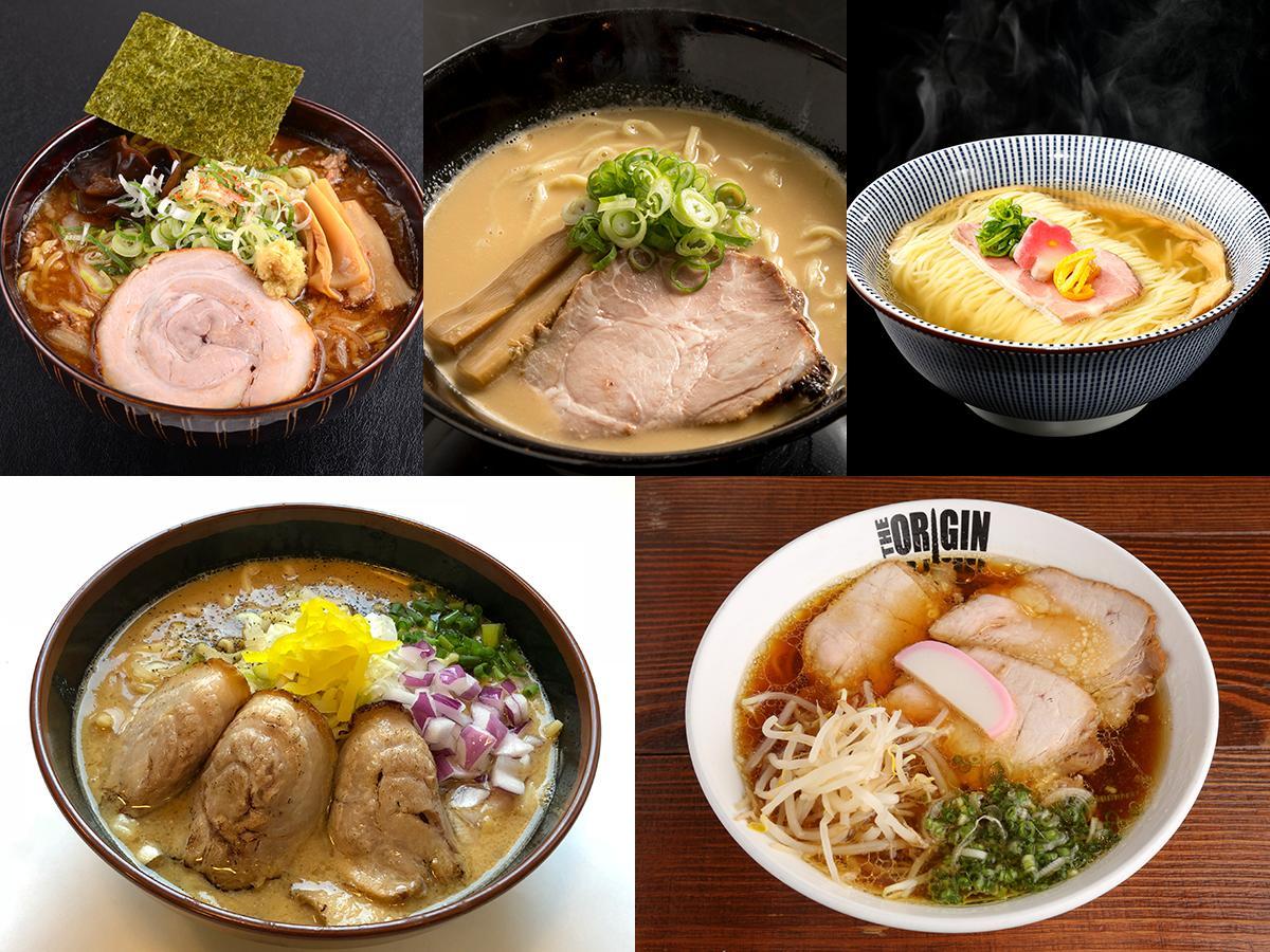左上から時計回りで「札幌濃厚毛蟹味噌らーめん」「濃厚うにそば」「黄金真鯛だし極上塩そば」「鶏中華そば」「濃厚鶏白湯味噌~炙り焼豚盛り~」