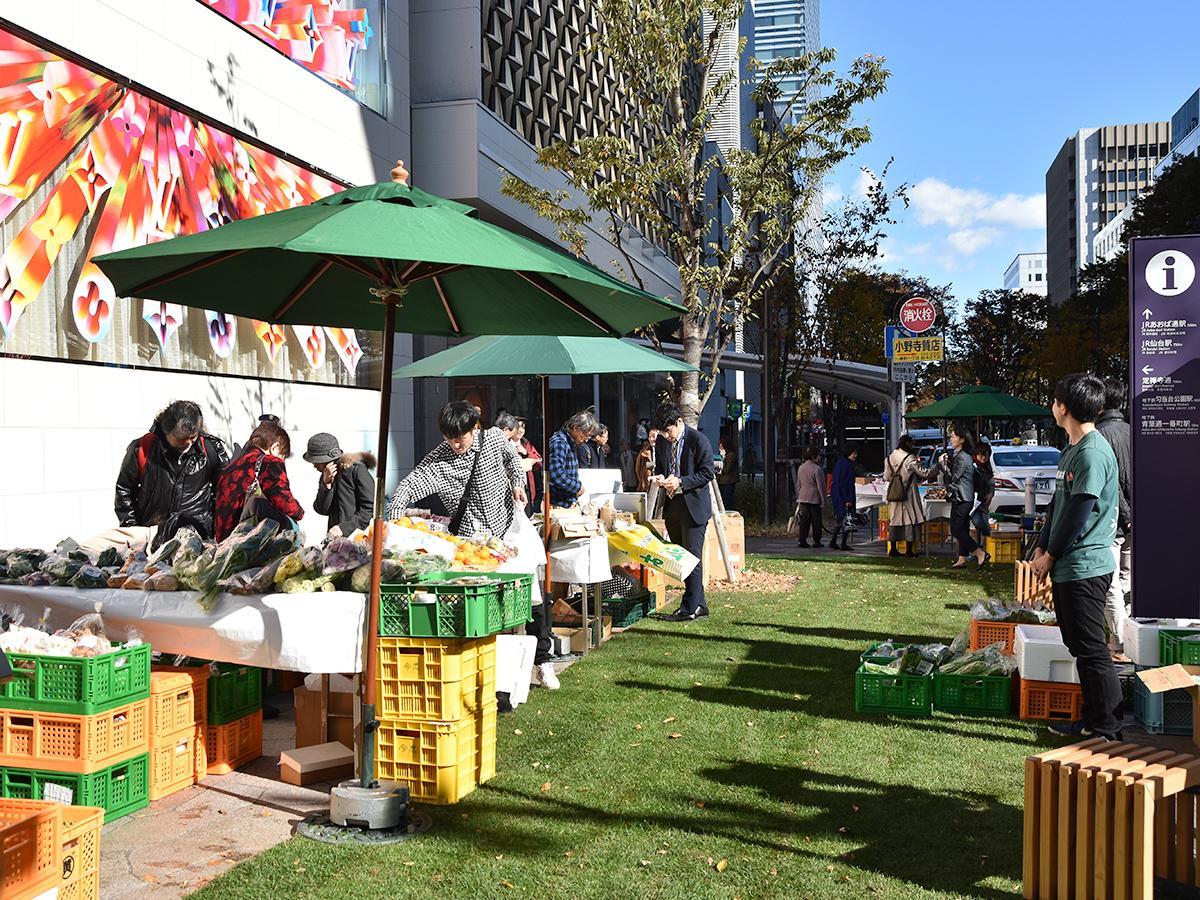山形銀行仙台支店の協力による「山形産直市」が開かれた15日の「芝生ひろば」の様子