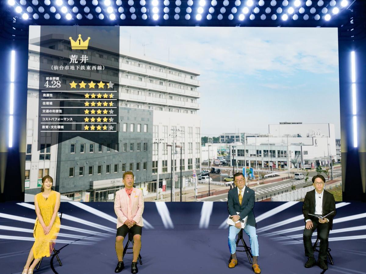 (左から)稲村亜美さん、勝俣州和さんをゲストに迎えた「ARUHI presents 本当に住みやすい街大賞 2020 in 宮城」ユーチューブライブの様子